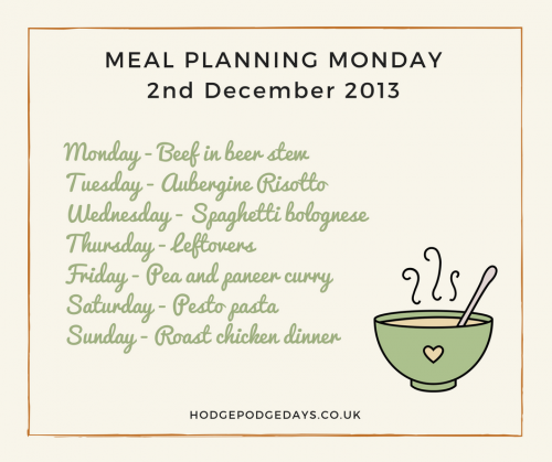 Meal Planning Monday w/c 2nd December 2013