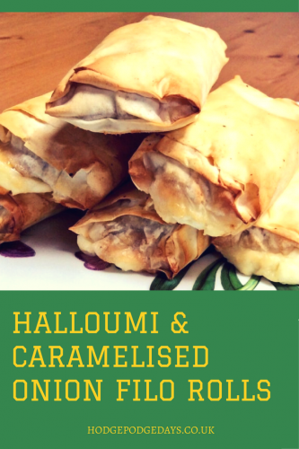 Recipe: Halloumi & Caramelised Onion filo rolls