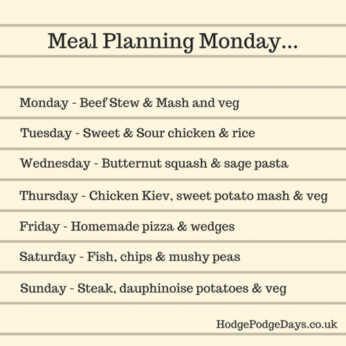 Meal Planning Monday: What's in my shopping trolley?