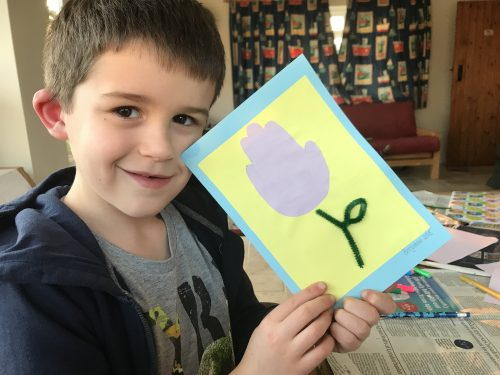 Kids Crafts: How to make Tulip Handprint Cards