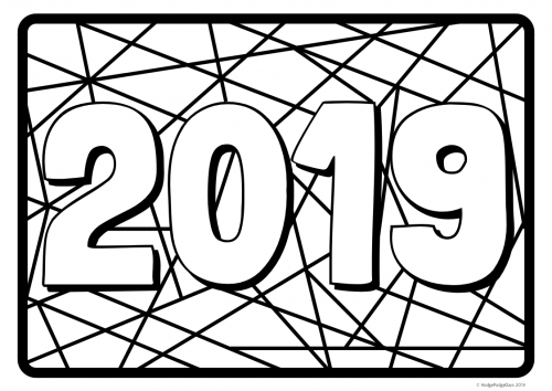 Free Printable: 2019 New Year Colouring Sheet