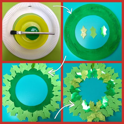 Christmas Crafts: Paper Plate Holly Wreath