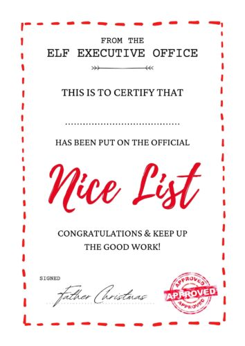 Free Printable: Nice List Certificate Template father christmas
