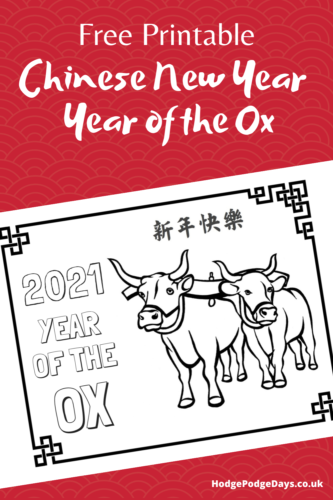 FREE Printable: Chinese New Year – Year of the Ox